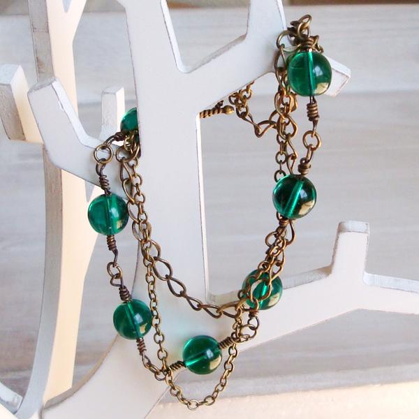 Czech Glass Beads Brass Chain Bracelet